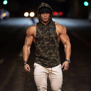 Mens Gyms camouflage Hoodie Singlets Sweatshirts sleeveless hoodies Stringer Bodybuilding Fitness male waistcoat Casual hoodies