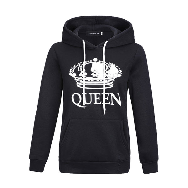 2018 New Women Men Hoodies King Queen Printed Sweatshirt Lovers Couples Hoodie Hooded Sweatshirt Casual Pullovers Tracksuits - EconomicShopping