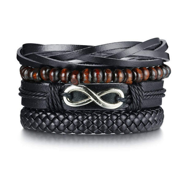 4pcs Set Black Bracelets for Men - EconomicShopping