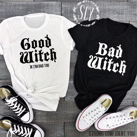 fa15d0c5a6e Lei-SAGLY Couple T-Shirts BAD WITCH GOOD WITCH Letter Printed Top Tee Shirt