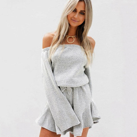 7a68c209f98 Sexy Off Shoulder Knitted Sweater Jumpsuit Women Gray Pullovers Knitwear Autumn  Winter 2018 Jumper Pull Femme