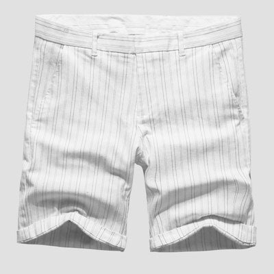 Men's White Striped Shorts