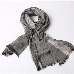 Men's New Retro Wrinkle Cotton Linen Scarf Fashion Men Casual British Style Autumn Winter Thin Color Matching Scarves W901
