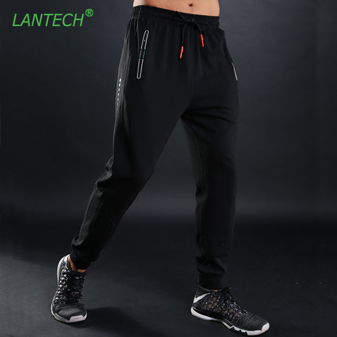 LANTECH Men Pants Running Joggers Training Sports Sportswear Fitness Joggings Trousers Exercise Gym Elastic Pencil Pants Pocket