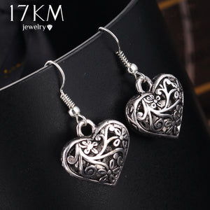 17KM Tibetan Antique Silver Color Hollow Heart Drop Earring for Women Fashion boho Retro Vintage Flower Dangle Earring Bijoux
