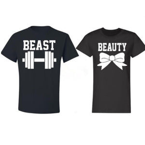 Women Men Valentine's Gift Beast Beauty Letter Print T Shirt Dumbbell Bowknot Funny Graphic Couple Tees Shirt