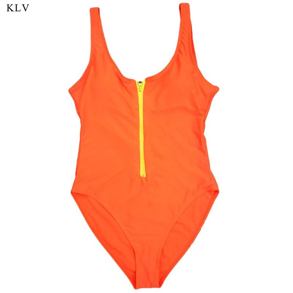 Zipper V One Piece Bathing Monokini Sexy Push Up Bikini