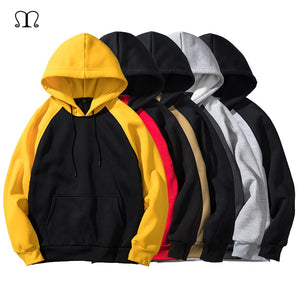 Hoodies Men Thick Clothes Autumn Winter Long Sleeve Patchwork Sweatshirts Mens Women Streetwear Fleece Unisex Hoody Man Clothing