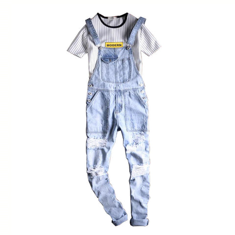 Fashion Men's Destroyed Jeans Bib Overalls Ripped Cargo Denim Jumpsuits  S-5XL - EconomicShopping