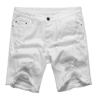 ab642dcf04 White Ripped Denim Shorts for Men