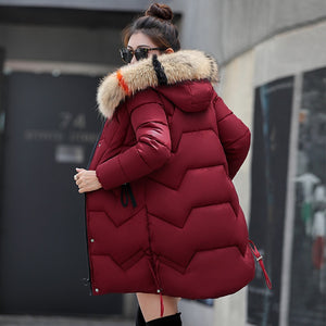 Hooded Winter Down Coat Jacket Thick Warm Slim Women Casaco Feminino Abrigos Mujer Invierno 2018 Wadded Parkas Outerwear
