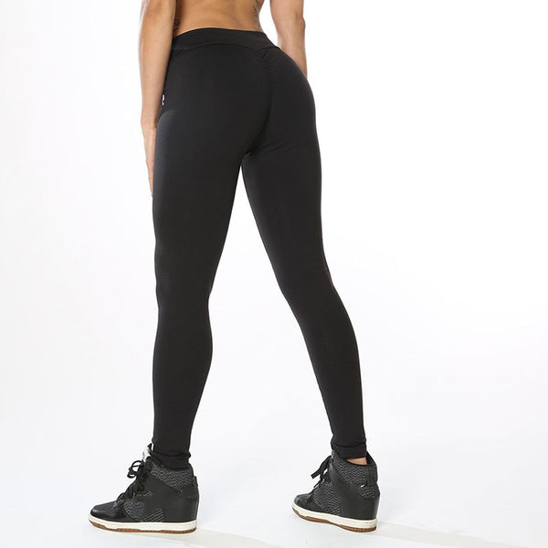 Women Elastic Hip Leggings Black Skinny Fitness High Quality Thick Sporting Wrinkled Plain Women Leggings