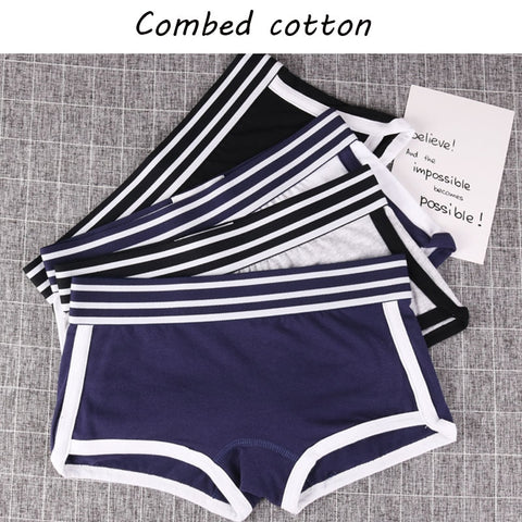 New design ladies girls Panties Mid-Waist Safety Short Underwear Female boxer Breathable stripe belt Pants Multicolors students