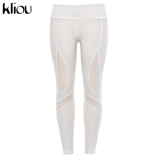 Kliou 2018 Womens Sexy Fitness Slim Pleated Push Up Hips Leggings For Female High Waist Mesh Patchwork Elastic Skinny Leggings