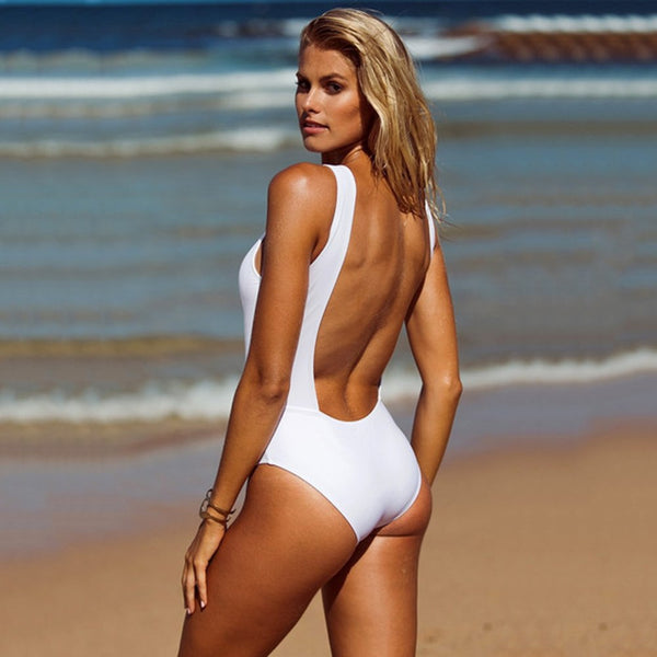 2018 Sexy One Piece Swimsuit Women Solid Swimwear White Backless Swimming Suit Female Beachwear One-Piece Bathing Suit - EconomicShopping