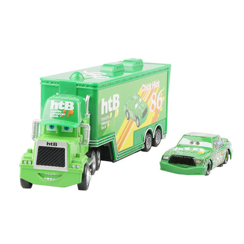 Disney Pixar Cars 2 Toys 2pcs Lightning McQueen Mack Truck Chick Hicks Uncle 1:55 Diecast Metal Alloy Modle Toys Gifts For Kids