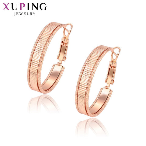 11.11 Deals Xuping Elegant Simple Earrings Hoops Rose Gold Color Plated for Women Girls Jewelry Thanksgiving Gifts S83,2-95429