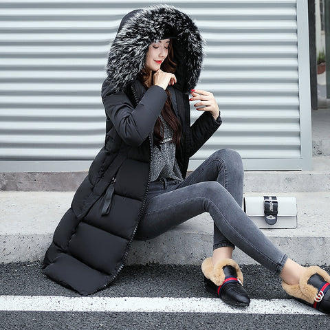 Hooded Fur Collar Winter Down Coat Jacket Long Warm Women Casaco Feminino Abrigos Mujer Invierno 2018 Parkas Outwear Coats Ru50