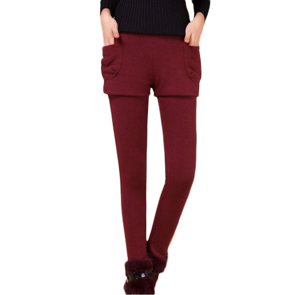 Thicken Warm Solid Color Skinny Legging