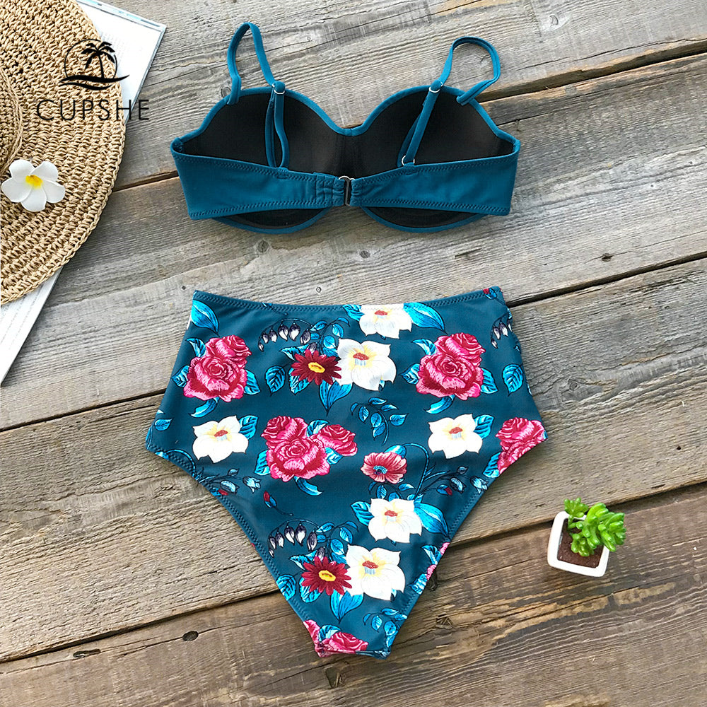 5d691972b9eaa ... CUPSHE Blue Floral High Waist Bikini Sets Women Sexy Moulded Cup Push  Up Two Pieces Swimsuits ...