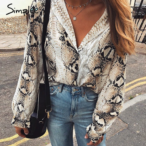 Simplee 2018 Chic women snake print blouse Long sleeve turn-down collar snakeskin shirts High street female top shirt streetwear
