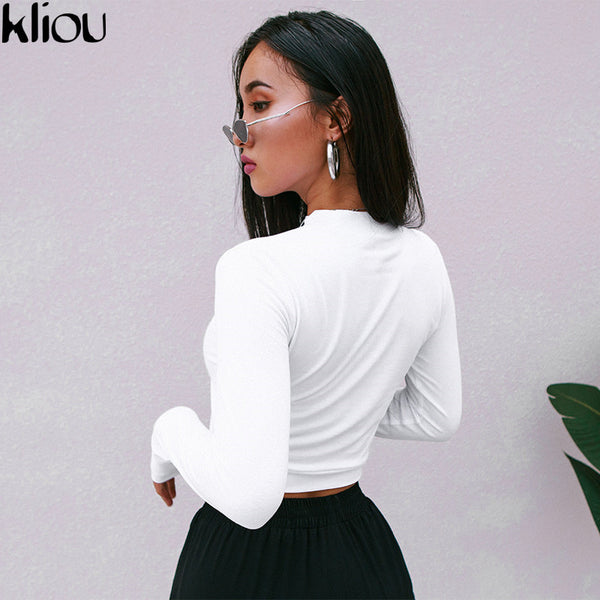Kliou 2018 Autumn Women New Fashion Solid White Letter Print Full Sleeve Sweatshirts Women Street O-Neck Short Crop tops tees