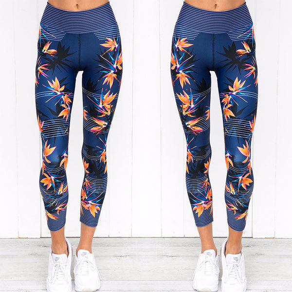 Women High Waist Fitness Yoga Pants Printed Elastic Leggins Sport Women Fitness Breathable Yoga Leggings