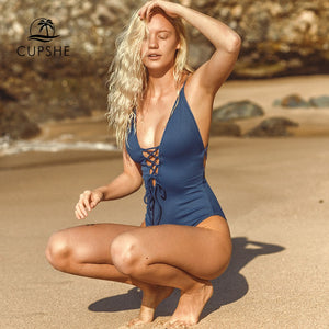 CUPSHE Remind Me Solid One-piece Swimsuit Women Backless Deep V neck Lace Up Sexy Bodysuits 2018 Beach Bathing Suit Swimwear