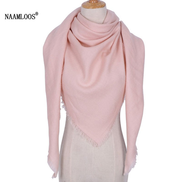 Luxury Brand Desiguers Winter Triangle Scarf Women Shawls and Wraps Cashmere Foulard Solid Color Scarves Blanket Drop shipping