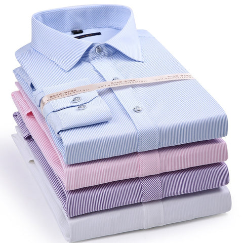 Elastic Stripe Men's Long Sleeve Shirt Dress Casual Shirt Male Social Formal Shirt Slim Fit Design Blue Black Pink 4XL