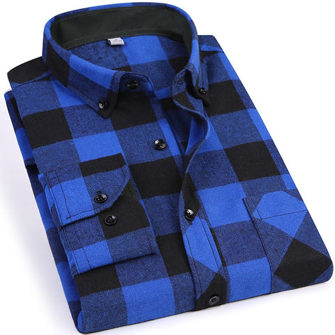 2018 New Men's Plaid Flannel Shirt Slim Fit Soft Comfortable Spring Male Shirt Brand Men's Business Casual Long-sleeved Shirts