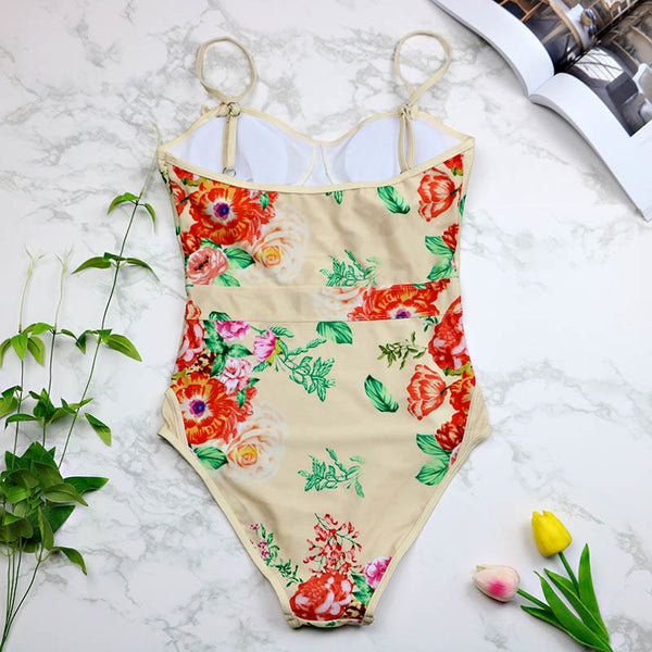 2017 Women Swimwear One Pieces Swimsuits Print floral high waisted bathing suits Plus Size Swimwear