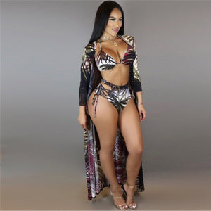 2018 Three Pieces Bikini Halter High Waist Monkini  Bandage Bathing Suit Sexy Swim Suit Leaf Print Beachwear Biquinis Plus Size