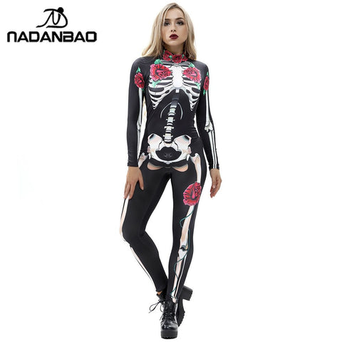 NADANBAO Rose Mechanical Bone Costume Scary Halloween Costumes For Women Skeleton Skull Floral Butterfly Bodysuit