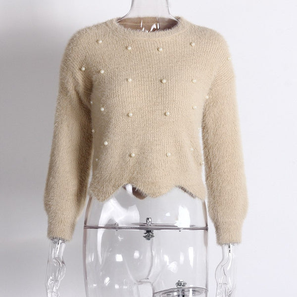O Neck Sleeve Pearl Sweater