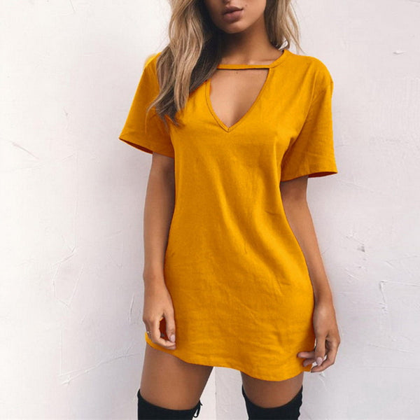 Sexy V Neck Cotton Summer Dresses Female Solid Casual Loose Dress Women A-Line Mini - EconomicShopping