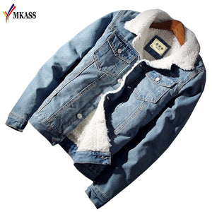Men Jacket and Coat Trendy Warm Fleece Denim Jacket 2018 Winter Fashion - EconomicShopping