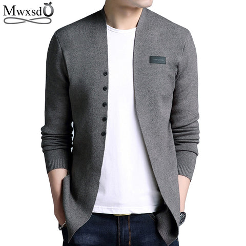 Middle- Long length Mens Solid Sweater Cardigan - EconomicShopping