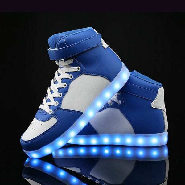 New Lovers Casual Flash Sneakers Shoes Men Fashion Luminous Shoes High Top LED Lights USB Charging Colorful Shoes  DD-74 - EconomicShopping