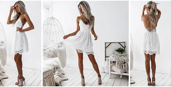 Sexy Spaghetti Strap Lace Dress 2018 - EconomicShopping