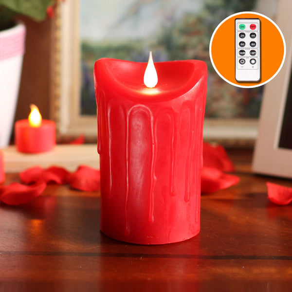 Dripping Free-Flowing 3D Fireless Flame Pillar Candle with Remote Control - EconomicShopping