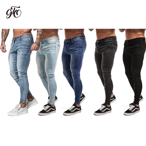 Gingtto Mens Skinny Jeans Black Distressed Denim Stretch Jeans Men Hombre Slim Fit Fashion Elastic Waist Dropshipping zm01