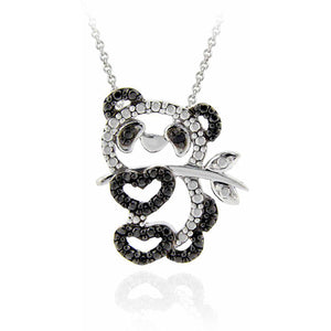 Black Diamond Accent Silver-Tone Panda Necklace - EconomicShopping