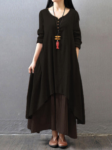 Long Sleeve Maxi Dress - EconomicShopping