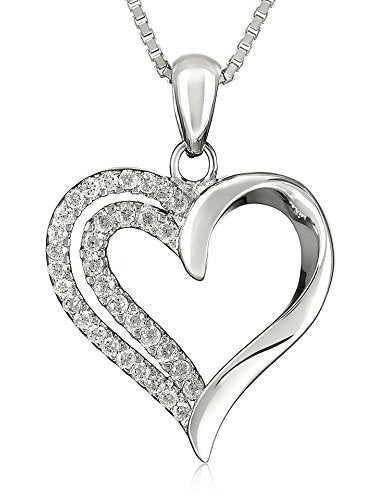 Womens Matching Heart Jewelry Set, Silver Necklace, Earrings, and Ring for Wife or Girlfriend