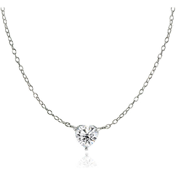 CZ Sterling Silver Small Dainty Heart Choker Necklace - EconomicShopping