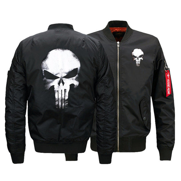 USA SIZE Men's Bomber Jackets Punisher Skulls Printed