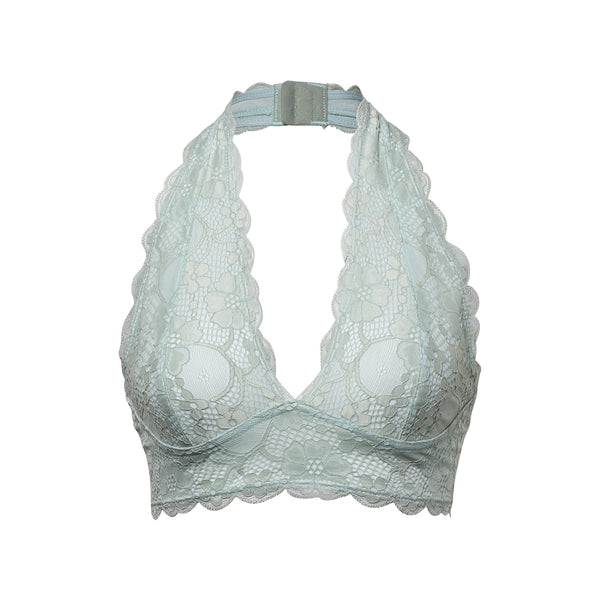 Scalloped Lace Halter Bralette With Adjustable Bra Clasp - EconomicShopping