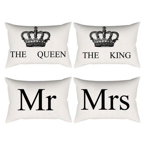 Home Decor Cushion Cover Crown Queen King Print Decorative Pillowcase for Sofa Seat Linen Cotton Pillow Covers - EconomicShopping