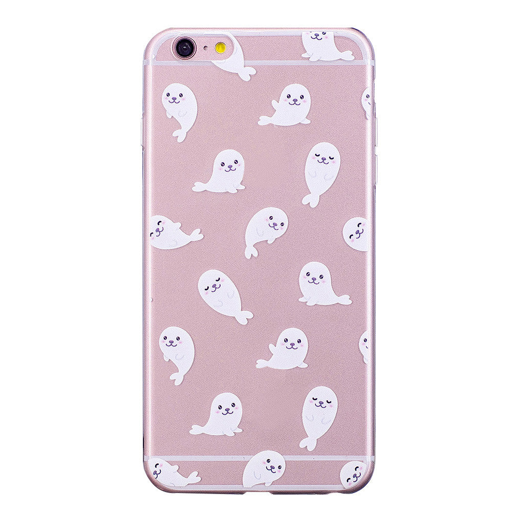 Phone Cover Transparent TPU Case White Sea Lion Pattern Soft Protector Shell for iPhone - EconomicShopping